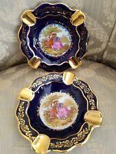 Vtg Veritable Porcelaine D'Art Limoges France Cobalt Blue Gold Ashtray
