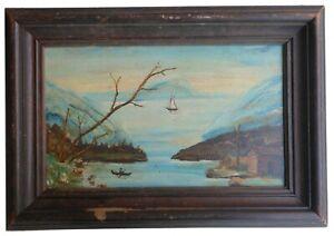 AAFA 1800s Folk Art Primitive Country Painting Oil board Frame
