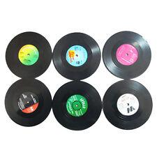 Brand New 6 PCS Vinyl Coaster Groovy Record Cup Drinks Holder Mat Tableware R3E3