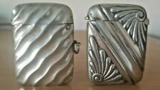 More details for 2 x silver plate vesta cases - hinged lids - great duo *hard to source*beautiful
