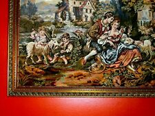 GORGEOUS Pastoral Love Sheppard Kid Sheep Water Mill Royal French LARGE Tapestry