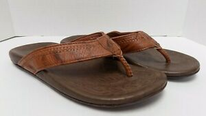 Olukai Flip Flop Sandals Mens Haipo Brown Leather Size 42 (US 9)