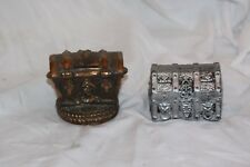 Lot of 2 Old Pirate Treasure Chest Vintage Metal & Plastic Coin Still Pig Bank