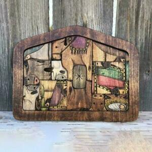 1 box Nativity Puzzle with Wood Burned Design,Wooden Game Puzzle Jesus P7B1