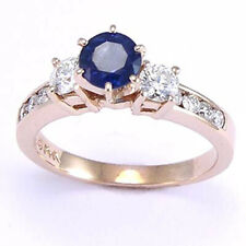 14K ROSE GOLD DIAMOND SAPPHIRE ENGAGEMENT RING