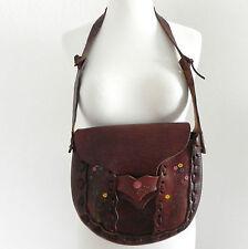 Vintage Leather Shoulder Bag Distressed Hand Crafted Dark Brown