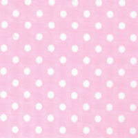 """POLYESTER COTTON BLEND CLOTHES FABRIC 5mm POLKA DOT WHITE BLACK PINK RED 44""""W"""