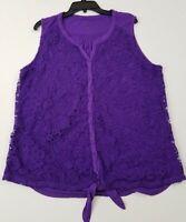 Great Northwest Indigo Women's Sleeveless Blouse Top 1X Plus Purple Lace Tie