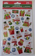 NEW Christmas Dimensional Shiny Metallic Stickers ~ Snowmen & Presents - 25ct
