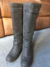 """Hush Puppies Black Leather Women's Boots, Size 6, Knee High, 2"""" Heel, Wide Fit"""