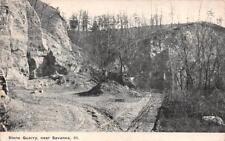 SAVANNA, IL Illinois  STONE QUARRY  Carroll County   1913 Black & White Postcard