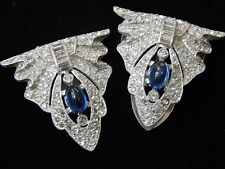 Vintage Antique 1930s Sapphire Blue Rhinestone Dress Clip Buckle Brooch Pin Lot