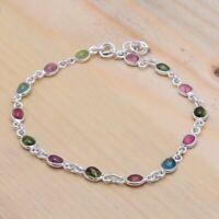 "Multi Tourmaline Natural Gemstone 925 Sterling Silver Bracelet 7-8"",Perfect Gift"