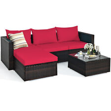 5PCS Patio Rattan Furniture Set Sectional Conversation Sofa w/ Coffee Table Red