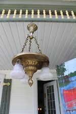 ANTIQUE BRASS HANGING CEILING LIGHT FIXTURE WITH 3 SHADES ARTS AND CRAFTS STYLE