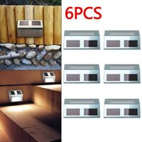 6x SUPER BRIGHT SOLAR POWERED DOOR FENCE WALL LIGHTS LED OUTDOOR GARDEN LIGHTING