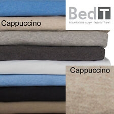 Bedt Sheet Set by Bambury - Combed Cotton Jersey Knit Bedding Bed Linen Cappuccino K