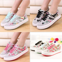 Casual Womens Flat Athletic Sport Plimsoll Floral Canvas Lace Up Shoes Sneakers