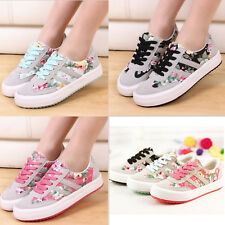 Casual Womens Flat Athletic Sport Plimsoll Floral Canvas Lace Up Sneakers Shoes