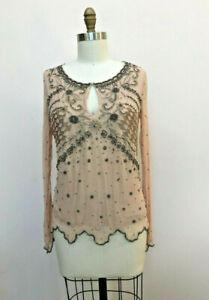 Twin Set Simona Barbieri Beige Tan Silk Beaded Embelished Blouse Top Size S-M