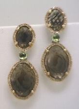 TOTALLY HOT STYLE!!   Smoke Quartz, Diamond & Peridot Earrings in SS & 14KYG