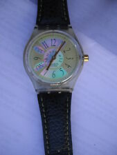 Swatch MusiCall Double Rythm Swiss Made Armbanduhr Uhr Lederarmband grün SLK103