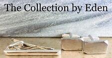 Perry Ellis Portfolio Tie Clip Cuff Link Set- Silver Bar Rectangle Angled Edge