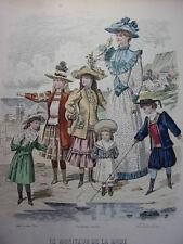 """48/ GRAVURE DE MODE """" Moniteur de la Mode Paris 1891 """".   Grand format 36x26"""