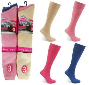 3 Pairs of Ladies Long Thermal Socks Womens Walking Camping Hiking Thick Boot