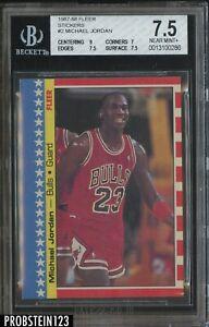 1987-88 Fleer Sticker #2 Michael Jordan Bulls BGS 7.5 NM+ HOF