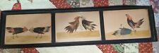 Vintage Primitive Real Feather Folk Art Rooster Cock Bird Fight Framed 3 Scenes