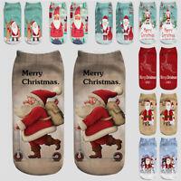 Men Women Low Cut Short Ankle Socks Merry Christmas Santa Claus 3D Print Socks