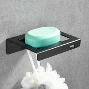 Wall Mounted Stainless Steel Black Multi-function Shower Soap Dish Holder Hook