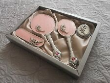 Vintage Rose Gold Color Hand Mirror, Brush, and Comb Vanity Set, Engagement Gift