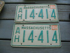 1984 84 MASSACHUSETTS MASS LICENSE PLATE NICE TAG PAIR SET ORIGINAL  BUY IT NOW