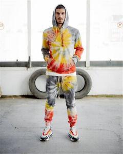 Men Tracksuit 2 Piece Casual Pant Hoodie Sweatsuit Hip Hop Sweatshirt Set
