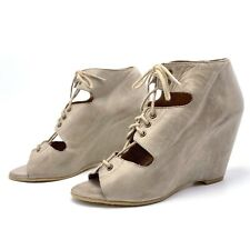9fb2e85368a Aldo Womens 39 8.5 Taupe Leather Lace Up Open Toe Wedge Heels Booties  Sandals