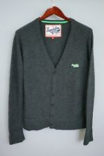 XEM801 Men Real Superdry Japan Grey Lambswool Button Front Cardigan Size S