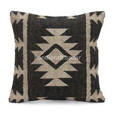 """18 x 18"""" Set 2 Handwoven Jute Cushion cover Handmade Kilim Rug Pillow Throw Case"""