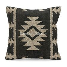 "Indian 18x18"" Handwoven Jute Cushion cover Hand made Kilim Rug Pillow Throw Case"