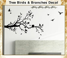 Tree Top Branches Wall Vinyl Sticker With Birds Made in USA Romantic Decal 032