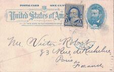 ETATS-UNIS - ENTIER POSTAL AVEC TIMBRE 1c - PARIS ETRANGER - 24-10-1892 (P1)