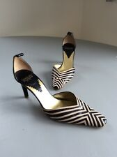 Vintage Charles Jourdan All Leather Brown/Cream Court Shoes UK4 EUR 4.5