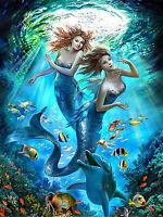 Full drill 5D Diamond Painting Mermaid Sunshine Dolphin Fashion Handicraft 6114X