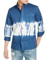 Sun + Stone Mens Shirt Blue Size Medium M Tie-Dye Pocket Button Front $45 #235