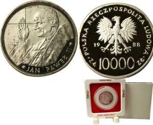 elf Poland 10,000 Zlotych 1988 Silver Proof Pope St. John Paul II Christmas