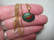 Red Cardinal Bird Necklace, Handmade, New, 18 Inch 14K Gold Plated Chain, Small