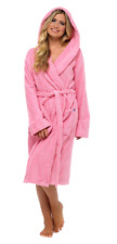 Womens Pure 100 Cotton Robe Luxury Toweling Hooded Bath Robes Dressing Gown Pink L