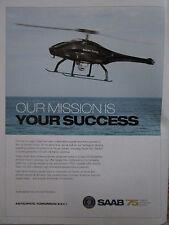 2012 PUB SAAB NORTH AMERICA SKELDAR VTOL UAS DRONE ORIGINAL AD