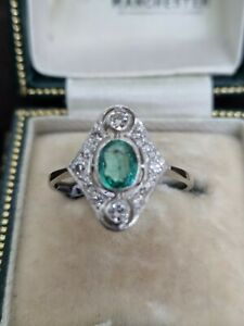 Platinum Art Nouveau Emerald & Diamond Ring